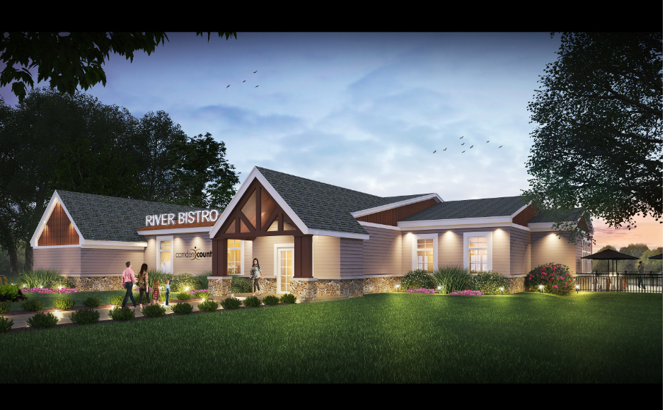 Artist's rendering of the new restaurant at Cooper River Park. Credit: Camden County.