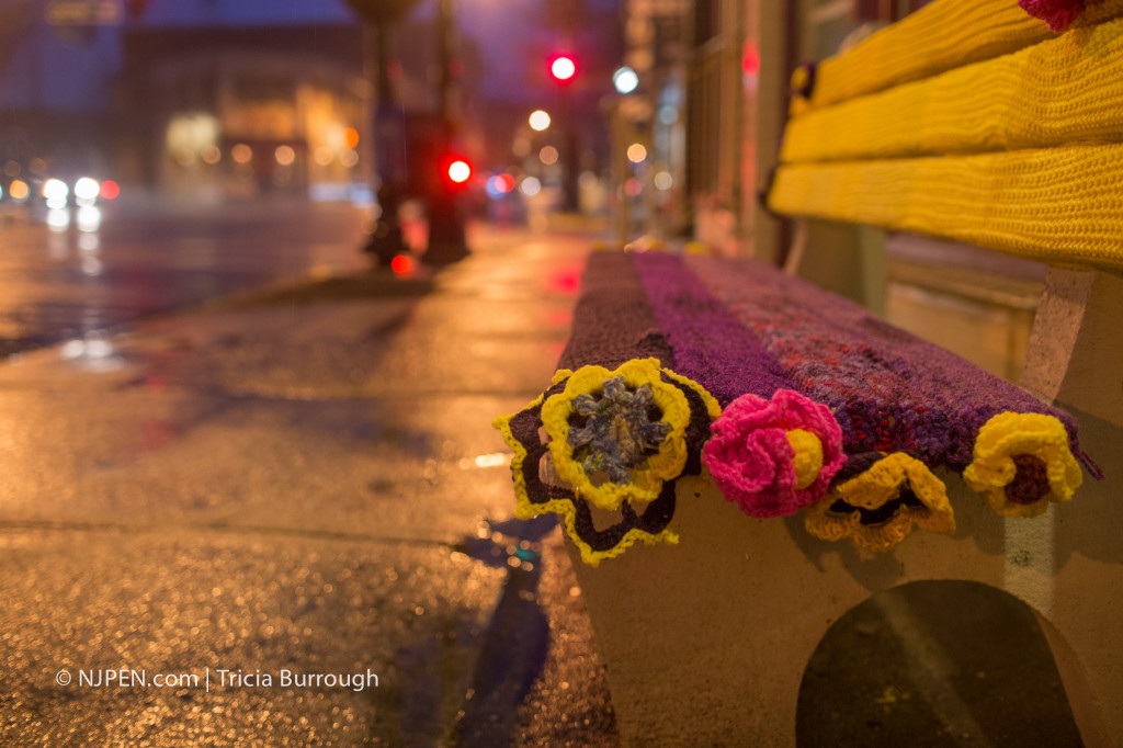 McLean's yarnbombed bench. Credit: Tricia Burrough.