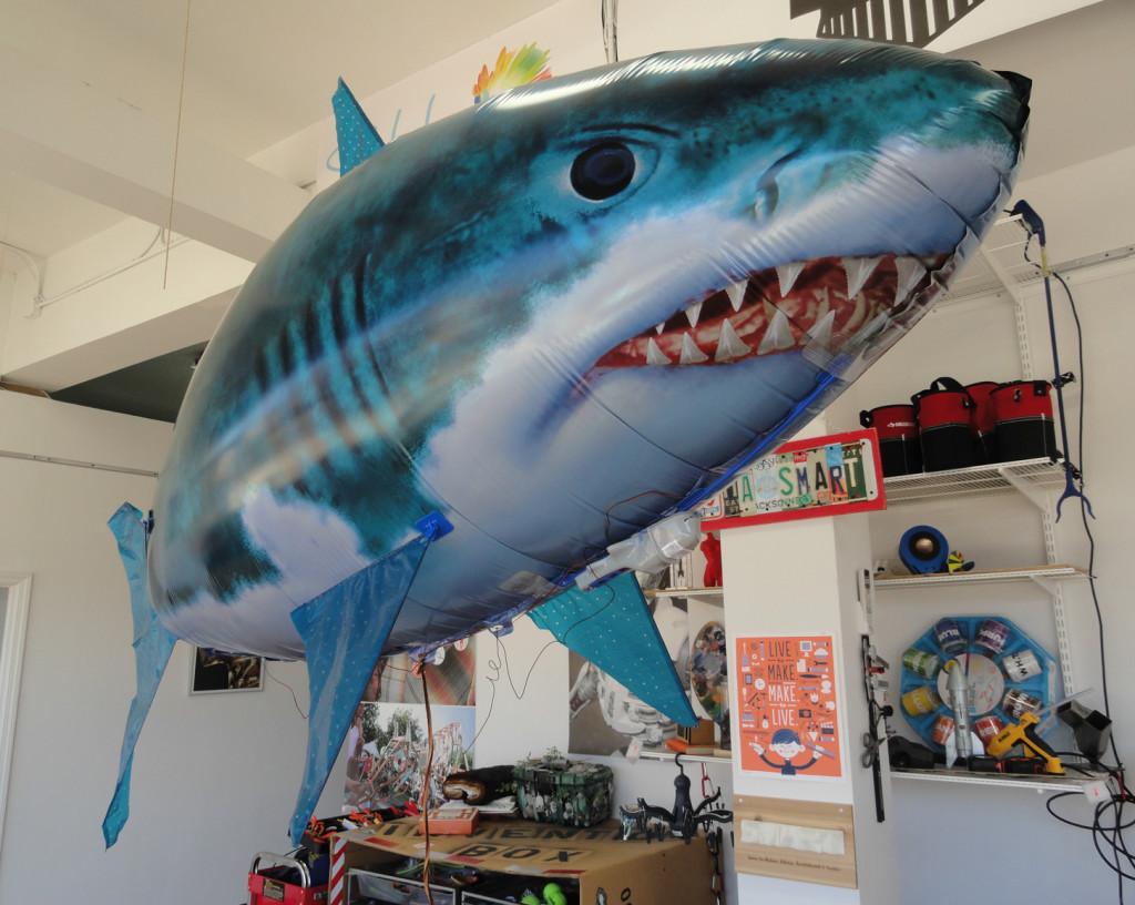 Maker tech includes this RC shark dirigible. Credit: Matt Skoufalos.