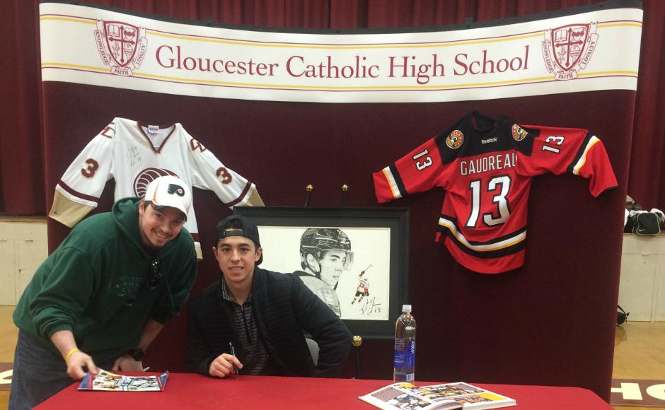 Josh Kaz (left) and Johnny Gaudreau at GCHS. Credit: Josh Kaz.