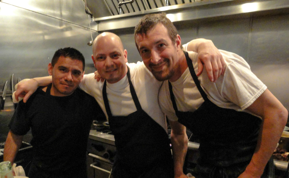 Chef Joey Baldino (center) said he believes Dominic Piperno will bring a new concept to Collingswood. Credit: Matt Skoufalos.