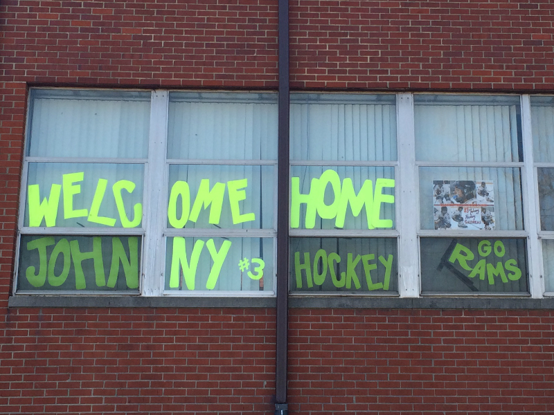 Welcome home signs for Johnny Gaudreau at GCHS. Credit: Josh Kaz.
