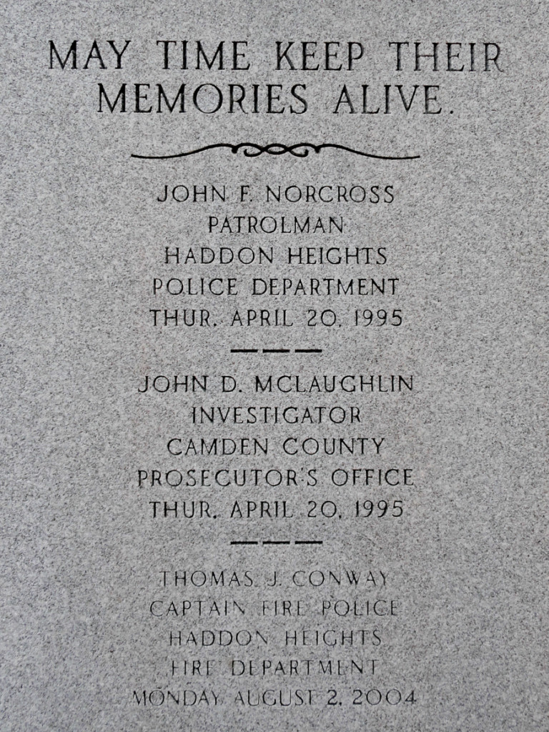 Plaque commemorating fallen officers in Haddon Heights. Credit: Matt Skoufalos.