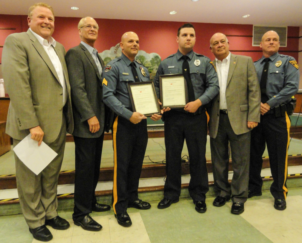 Haddon Heights Council commends Scardino and Cybulski. Credit: Matt Skoufalos.