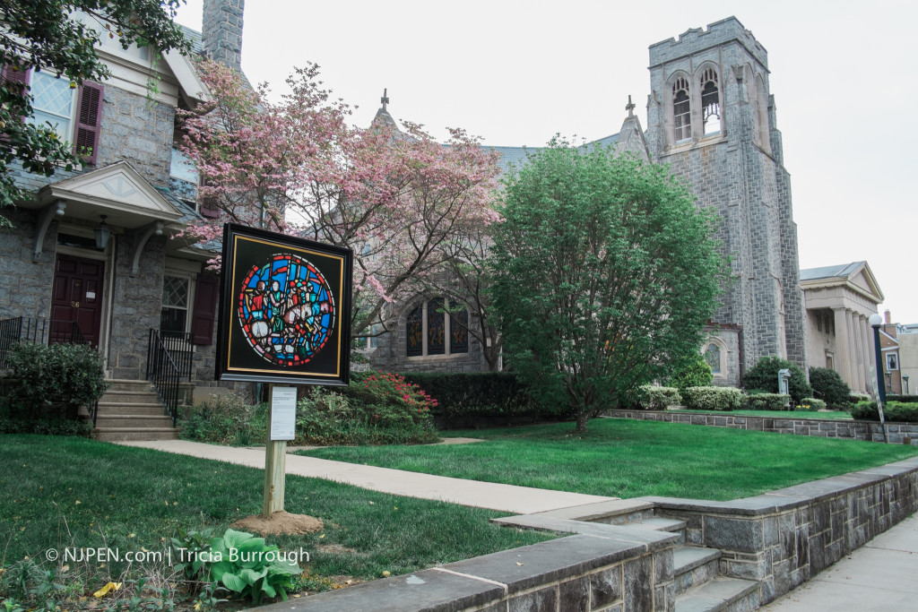"""""""Rondel Depicting Holoferne's Army Crossing the Euphrates River."""" First Presbyterian Church, Haddonfield. Credit: Tricia Burrough"""