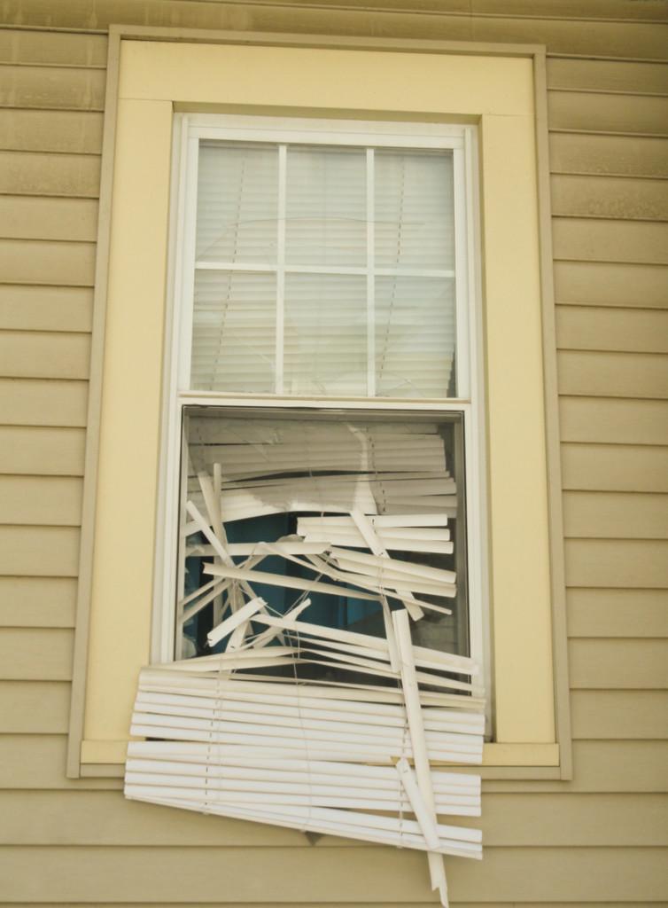 Window shattered during Coates' arrest. Credit: Matt Skoufalos.