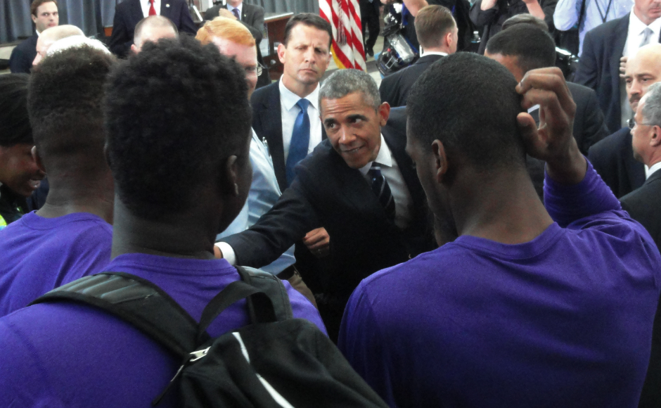 Obama meets Camden High basketball players. Credit: Matt Skoufalos.