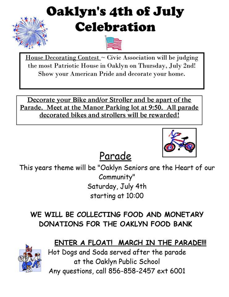 Oaklyn Fourth of July flyer. Credit: Oaklyn.