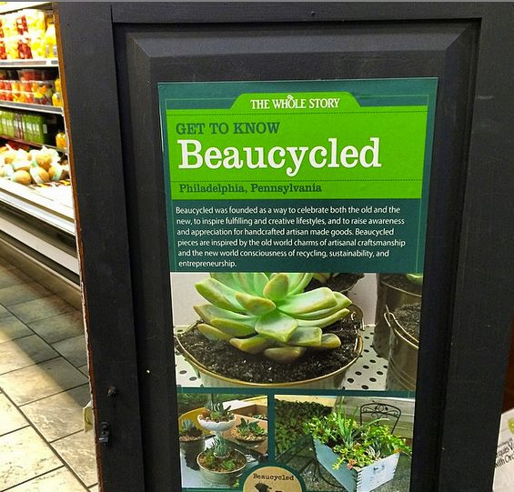 Beaucycled signage in Whole Foods. Credit: Beaucycled.