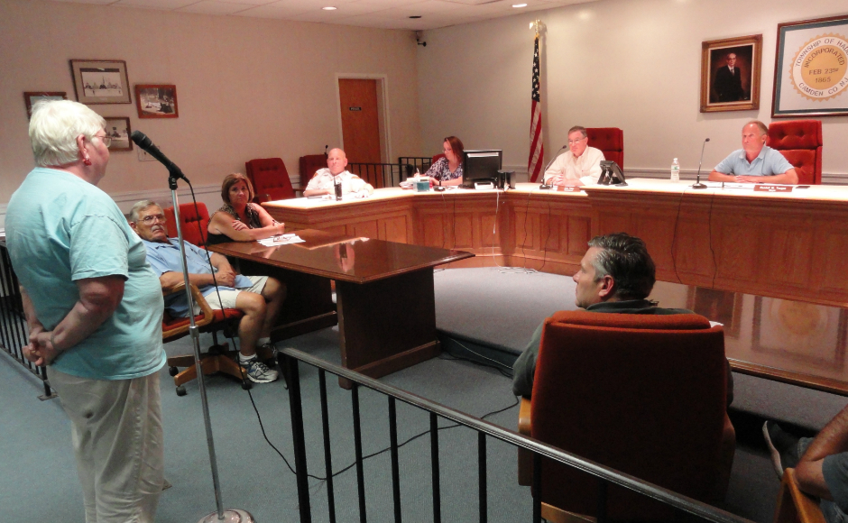 Gwen Baile addresses Haddon Twp. commissioners. Credit: Matt Skoufalos.