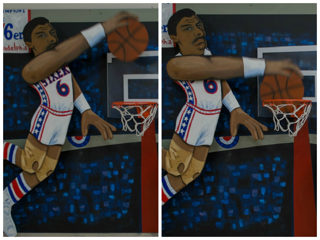Sax' Dr. J. dunk art. Credit: Tricia Burrough.