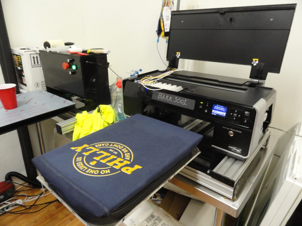 The Bark 3001 t-shirt printer. Credit: Matt Skoufalos.