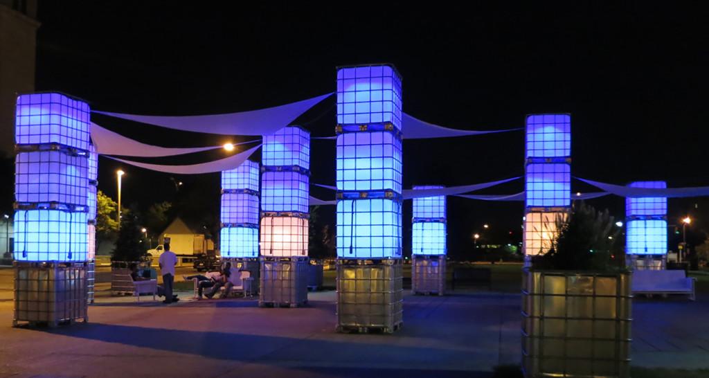 IBC Totes at Roosevelt Plaza Park. Credit: Joe Sikora.