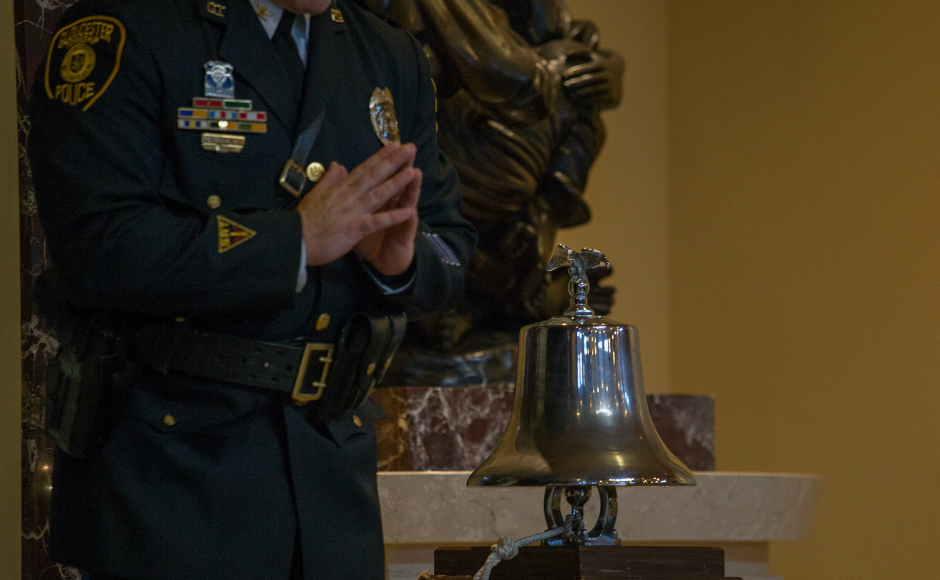 A bell sounded for each fallen responder. Credit: Tricia Burrough.
