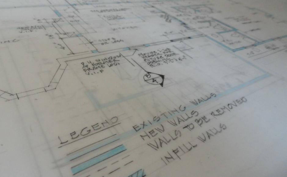 Williamson's blueprints. Credit: Matt Skoufalos.