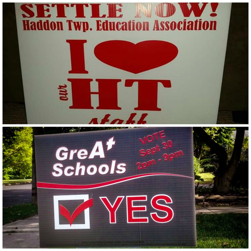 Haddon Twp. education signs. Credit: Matt Skoufalos.
