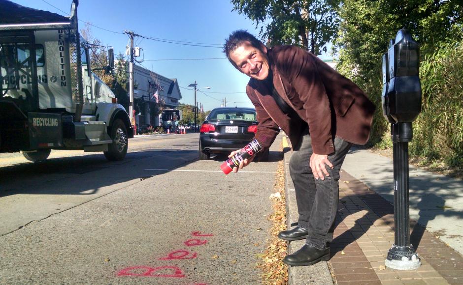 Doug Kelly preps Haddon Avenue for the Haddon Township Music Festival in 2015. Credit: Matt Skoufalos.