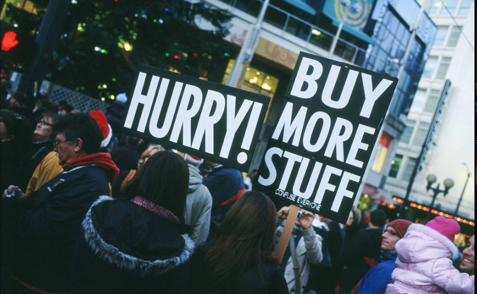 Buy More Stuff protestors. Credit: John Henderson. https://goo.gl/xI0FUD