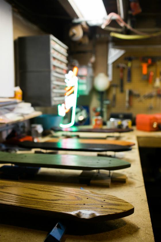 Ballauer's skateboards. Credit: Tricia Burrough.