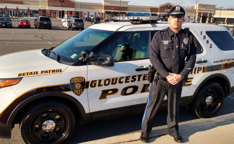 Retail Patrol Officer Anthony Massi is trained to look for suspects who may be candidates for addiction counseling. Credit: Gloucester Twp. Police.
