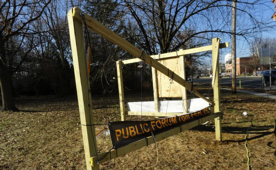 Sign posts at UUC Cherry Hill. Credit: Matt Skoufalos.