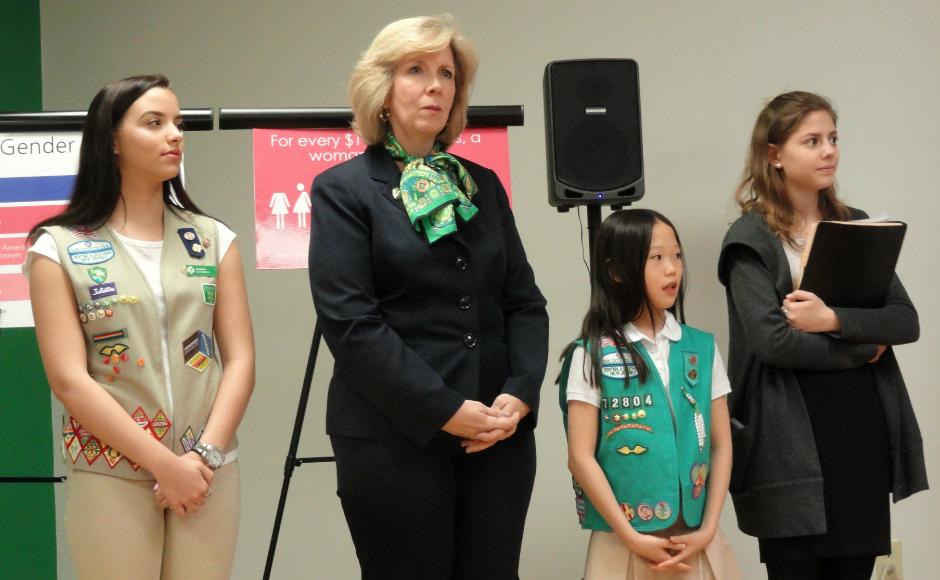Ginny Marino & Girl Scouts. Credit: Matt Skoufalos.