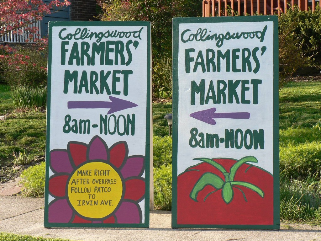 Directional signs. Credit: Collingswood Farmers Market.