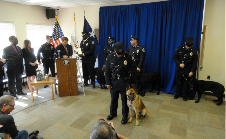 Camden County authorities hold a press conference to introduce Zero, the newest K-9. Credit: Matt Skoufalos.