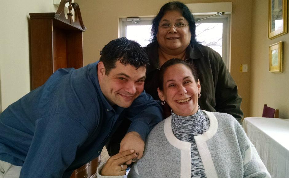 Tracy McHugh Goldman (right) with her husband, Danny, and mother, Terri. Credit: Matt Skoufalos.