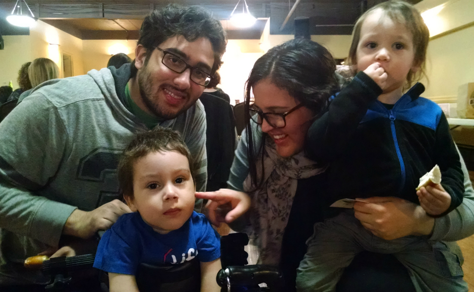 The Morales family: Jonas (lower left), Adam, Abigael, and Julio. Credit: Matt Skoufalos.