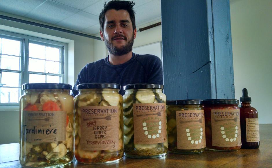 Harrison showcases his initial product line. Credit: Matt Skoufalos.