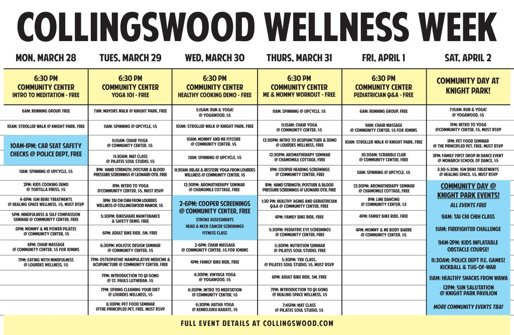 Collingswood Wellness Week Schedule. Credit: Borough of Collingswood.
