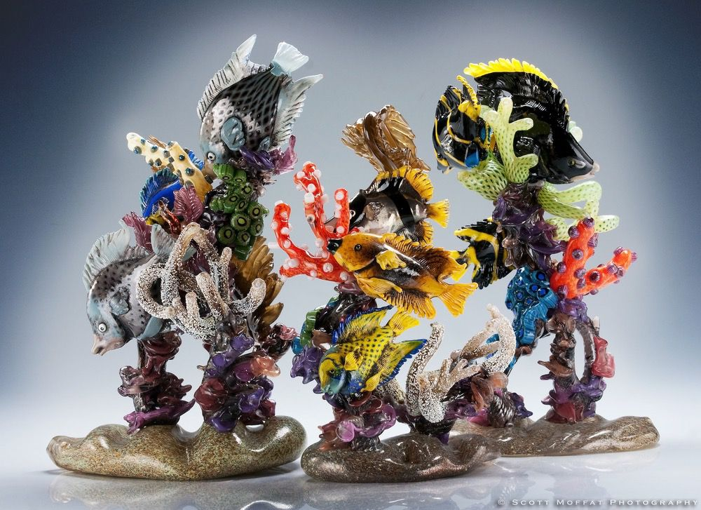 """Caribbean Beauties"" glass sculpture by Ted Clark. Credit: Ted Clark."