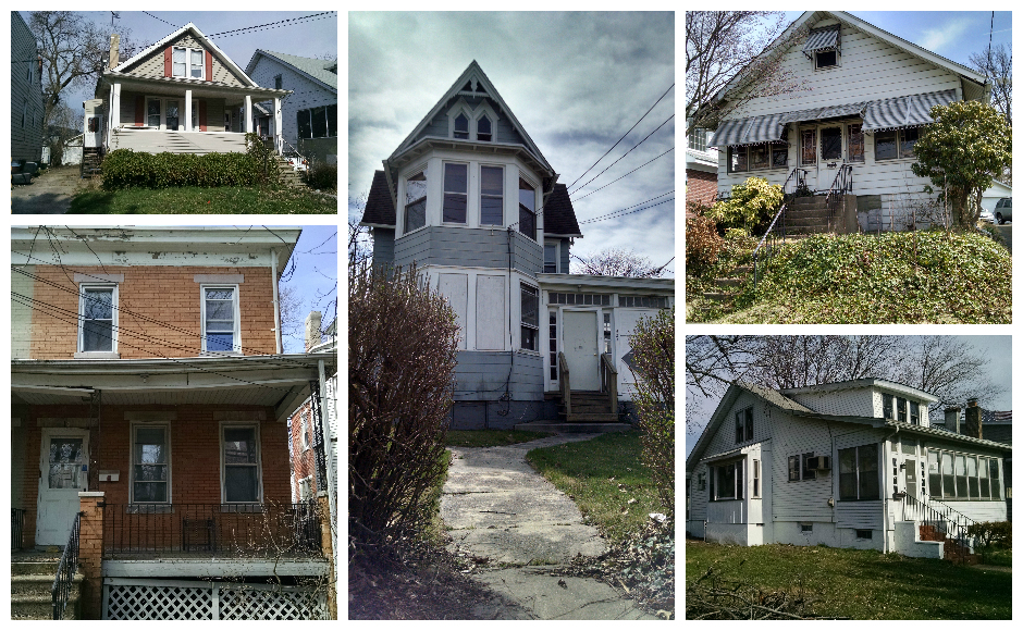 Five of the abandoned properties targeted by Collingswood for rehabilitation. Credit: Matt Skoufalos.