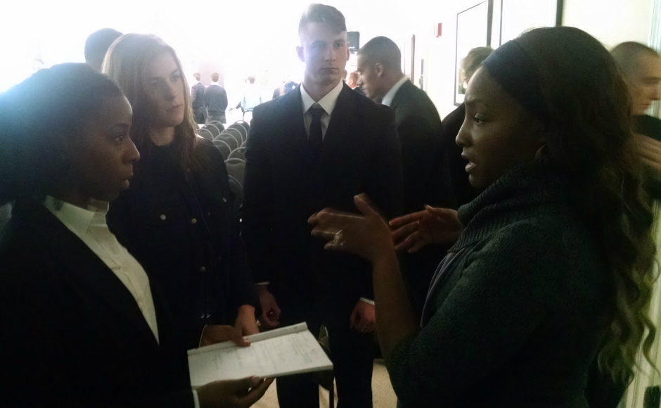 Cherry Hill resident and CHPD community partner Corrien Green-Elmore (right) meets with officer candidates. Credit: Matt Skoufalos.
