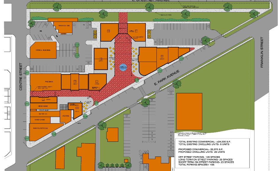 Merchantville pedestrian street redevelopment design concept. Credit Ragan Group.