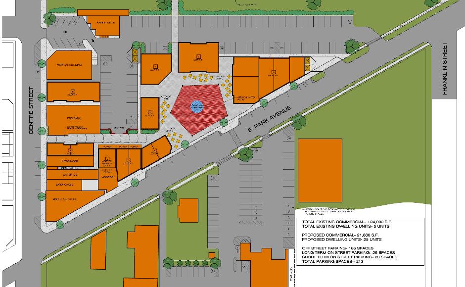 Merchantville piazza redevelopment design concept. Credit Ragan Group.