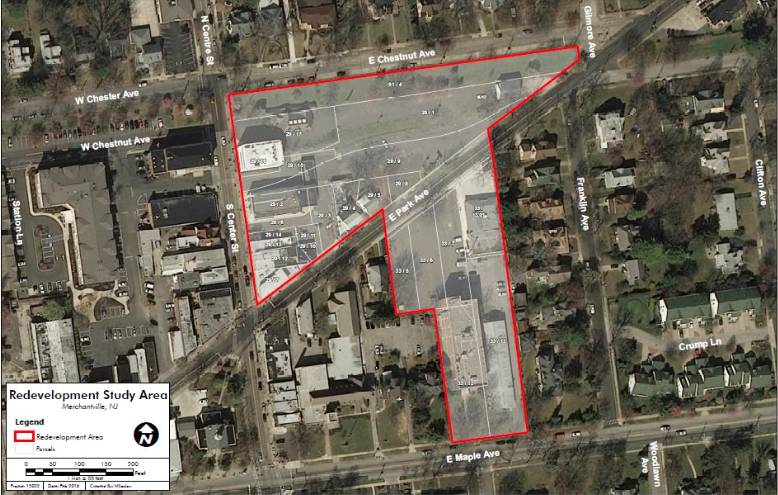 Map of the Merchantville redevelopment zone. Credit Ragan Group.