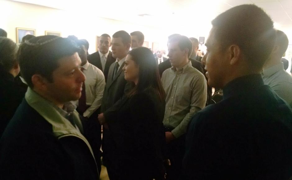 CHPD Chaplain Rabbi Larry Sernovitz (left) speaks with officer candidates. Credit: Matt Skoufalos.