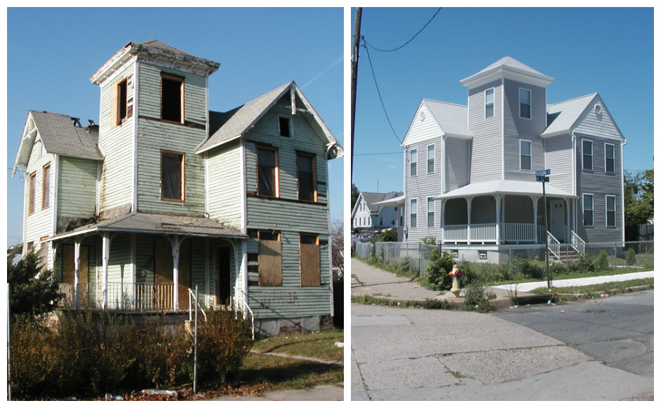 3 North 30th Street in Camden City, before and after St. Joseph's Carpenters Society fixed it up. Credit: Pilar Hogan-Closkey.