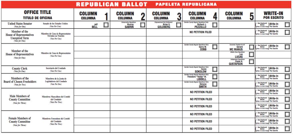 2014 Camden County Republican Primary Ballot. Credit: Camden County.