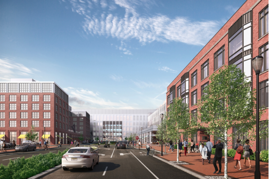Neighborhood streetscape rendering for the waterfront redevelopment project. Credit: Liberty Property Trust.