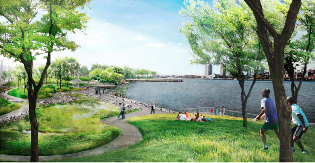 Rendering of the waterfront park. Credit: Liberty Property Trust.