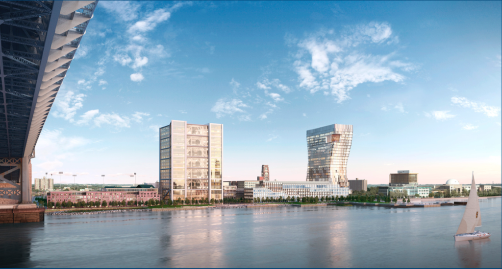 Rendering of the waterfront view from Philadelphia. Credit: Liberty Property Trust.