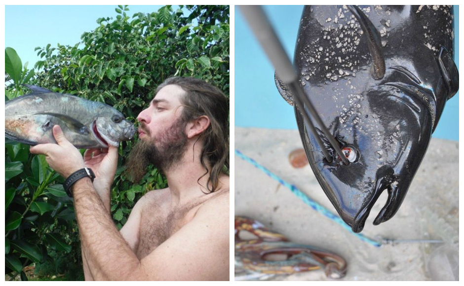 Clark poses with an Ulua he speared for food, and then recreated in blown glass (right). Credit: Ted Clark.