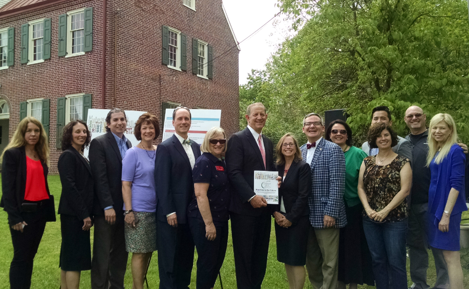 Local leaders at the launch of the Cherry Hill municipal sustainability plan. Credit: Matt Skoufalos.
