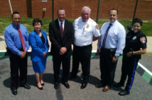 Pennsauken leaders launch the township Safe Exchange Zone. Credit: Matt Skoufalos.
