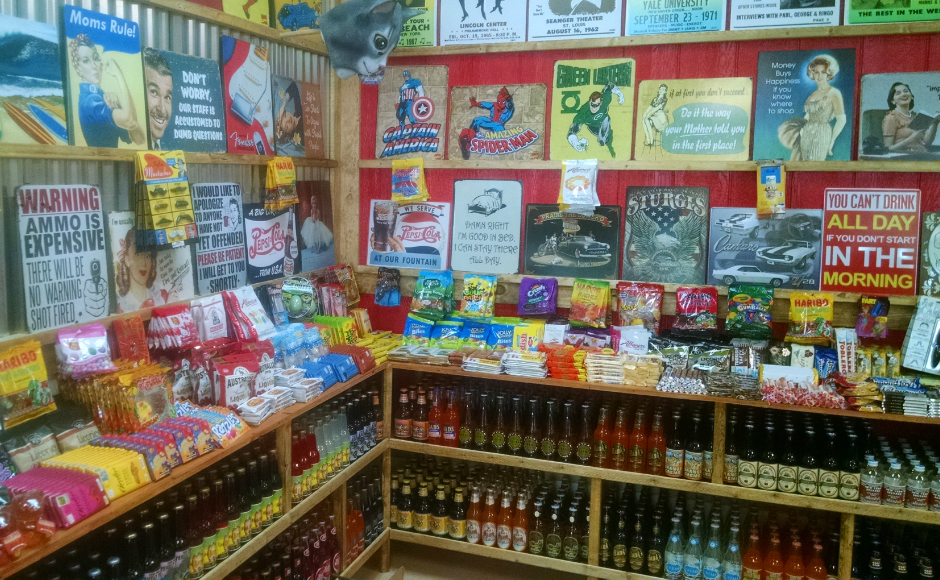 The interior of the store reveals a varied selection of candy, soda, and more. Credit: Matt Skoufalos.