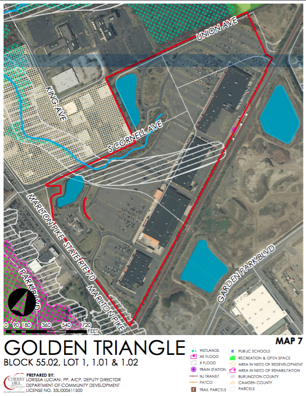TOD zoning overlay for the Golden Triangle (Garden State Pavilions) site. Credit: Cherry Hill Twp.