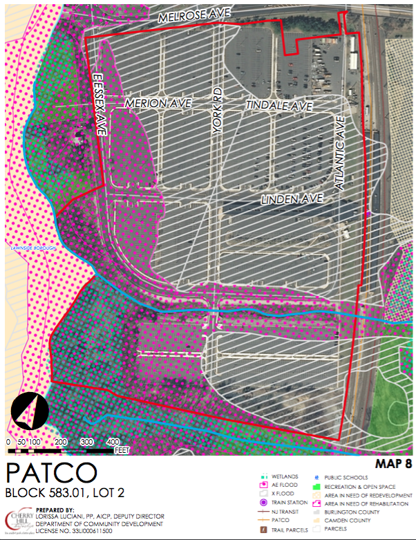 Zoning overlay for the Woodcrest PATCO park n' ride. Credit: Cherry Hill Twp.